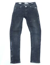 Women's Vintage PIESZAK Skinny Stretch Snakeskin Pattern Black Jeans W27 L28