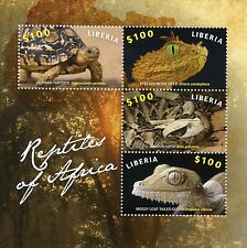 Liberia 2015 MNH Reptiles of Africa 4v M/S Turtles Snakes Vipers Geckos Stamps