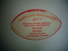 1977 Tampa Bay Buccaneers NFL Football Schedule, Hillsboro Company, Die Cut