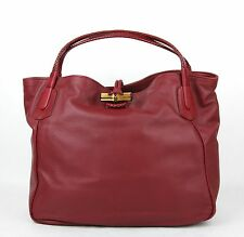 New Gucci Red Soft Deer Leather Large Hip Bamboo Tote Bag 338978 6236
