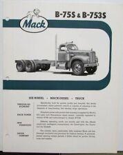 1961 Mack Trucks Model B 75S B 753S Diagram Dimensions Sales Brochure Original