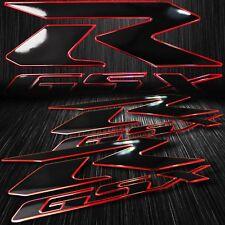 """2x 6.25"""" ABS 3D Emblem Decal Fairing Logo Sticker Suzuki GSXR Black/Chromed Red"""