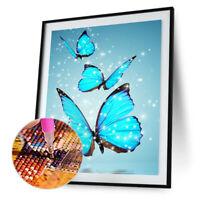 Blue Butterfly 5D Diamond DIY Painting Kit Cross Stitch Home Decor Craft #JT1