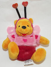 "Winnie Pooh Disney Store Plush Luv Bug Hearts Wings Stuffed Animal Toy 9"" Love"