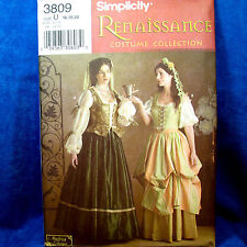 Simplicity 3809 Renaissance Layered Dress 2 Looks 10-14