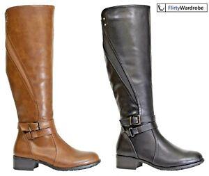 Knee High Boots Buckle Zipup Block Heel Elastic Stretch Calf Shoes Ladies Womens