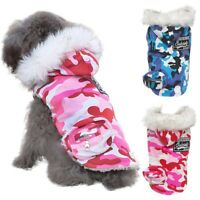 Pet Dog Camo Hoodie Thickened Coat Puppy Winter Warm Padded Jacket Outwear New