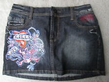 ED HARDY Blue Jean Denim Mini Skirt Waist 27 New without Tags