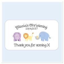 25 Personalised Christening thank you for coming to my party stickers Animals