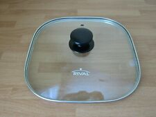 """RIVAL 11"""" Glass Vented Square Lid Tempered for Electric Skillet Clear Stainless"""