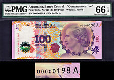 Argentina 100 Pesos 2012 Commem. LOW Serial 00000198 A P-358a GEM UNC PMG 66 EPQ