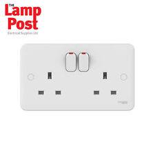 Schneider Lisse GGBL3020 - White Moulded Switched Plug Socket 13A 2 Gang - White