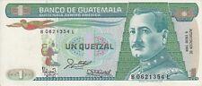 Guatemala 1988 1 quetzal banknote prefix B..L un quetzal serie B..L