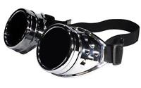 Welding Goggles in Rustic Steampunk Style for Cosplay and Fancy Dress in Silver