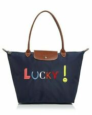 NWT LONGCHAMP Le Pliage LUCKY Large Nylon Shoulder Tote Navy Blue Made in FRANCE