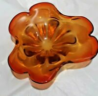 Vintage Venetian Amber/Red Glass Glass Bowl Made In Murano Italy