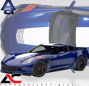AUTOART 71275 1:18 CHEVROLET CORVETTE GRAND SPORT ADMIRAL BLUE WHITE/RED STRIPES