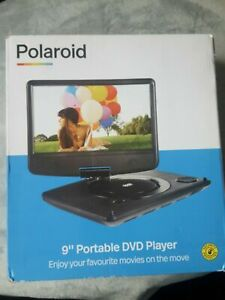 "Polaroid 9"" Inch Portable DVD Player Rechargeable Swivel Screen In Car Charger"