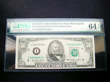 RARE $50 1977 **I  MINNEAPOLIS**FEDERAL RESERVE CHOICE GEM BU NOTE**PMG 64 EPQ**