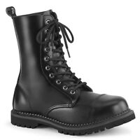 Demonia RIOT-10 Men's Black Leather Steel Toe Combat Ankle Boots Biker Punk Goth