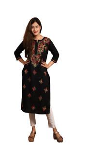 Women & Girls Chikan Embroidery Pure Cotton Straight Kurti | Pure Cotton Kurti