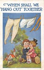 POSTCARD  COMIC  CHILDREN  Clothes  Line  Hanging  Out