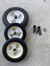OEM GOOD USED LAWN BOY LAWNMOWER SET OF THREE WHEELS WITH BOLTS AND WASHERS