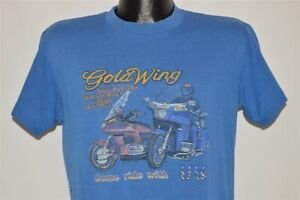 vtg 80s GOLD WING MADE IN THE USA COME RIDE WITH US MOTORCYCLE BIKE t-shirt L