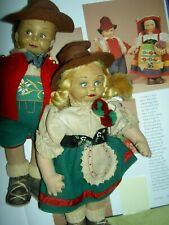 "Cute Pair, Magis, Italy felt dolls, ""mascotte"" miniature (Lenci type) 1930s"