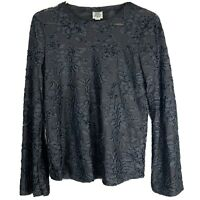 Ivy Jane Womens Size Medium M Black Floral Sheer Long Sleeve Pullover Blouse