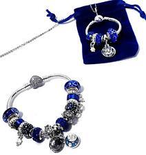 Sterling Silver O Pendant Necklace & Charm Bracelet Navy & White Bloom bead