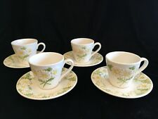 Poppytrail ~ Metlox Sculptured Daisy Set of 4 Cup and Saucers 1970s