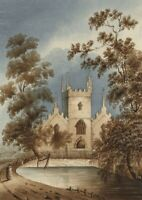 Margaret Webster, Church & Pond – Original mid-19th-century watercolour painting