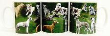 Whippet Tasse en céramique Collage Whippet scène Mug hand decorated in UK
