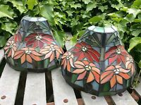 2 X Large Antique Tiffany Style Wall Light Sconce Shades Leaded Stained Glass