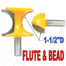 "2 pc 1/2"" SH 1-1/2"" Diameter Flute and Bead Match Joint Router Bit Set sct-888"