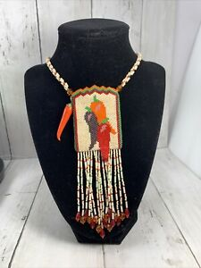 Vtg Beaded Pepper  Peyote Pouch Necklace Sm Amulet Bag Red Orange Cream Fringed