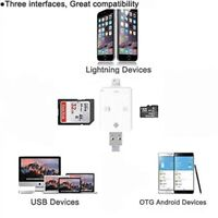 SD Card Reader, SD Card Adapter, Micro SD TF Lightning/USB OTG 3in1 for iPhone