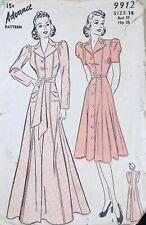 Vtg 1930s Advance 9912 Piped Princess Seam House Coat Dress Sewing Pattern 14