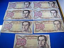 VENEZUELA  1992  100 BOLIVARES  BANKNOTES - LOT OF 7     (mr)