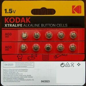 KODAK XTRALIFE LR41 AG3 392 1.5V Alkaline Button Cell Battery - 10 Pack   M53-03