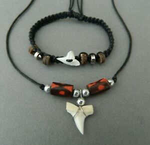 SHARK TOOTH NECKLACE BRACELET GIFT SET BOYS MENS JEWELLERY 1cm TOOTH WOOD BEAD