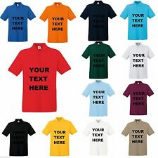 PERSONALISED PRINTED POLO  T-SHIRTS DESIGN BUSINESS WORK WEAR PARTY TEXT LOGO