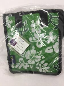 Hawaii Spirit Hawaiian Insulated Lunch Bag Green, Hibiscus~Turtle~NEW IN BAG