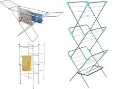 3 / 4 Tier Home Balcony Indoor Foldable Adjustable Clothes Airer Driers Rack New