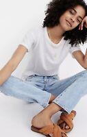 NWT Madewell Women's White Whisper Cotton Rib-Crewneck Tee Ai537 Size Small S