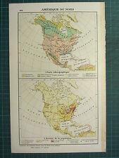 1921 MAP ~ NORTH AMERICA ETHNOGRAPHIC ~ POPULATION DENSITY MEXICO UNITED STATES