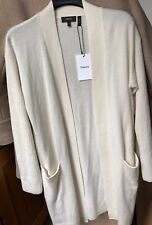 New Theory Rib Sleeve 100% Cashmere Cardigan Size M Warm Ivory