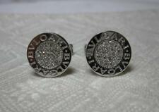 Bulgari Pave Diamond Cufflinks 18K White Gold Vintage Bvlgari Jewelry Italy