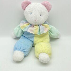"Vintage Eden Pastel Waffle Terry Bear 11"" Clown Plush Toy Rare HTF Toy Blue Yell"